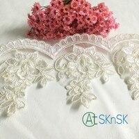 ユニークなlace1ヤード11センチ幅ホワイトレーストリムdiy装飾ビーズレディドレス縫製車の骨刺繍レース付きパールa2