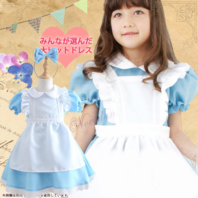 Kids Girls Alice In Wonderland Party Dress Lolita Maid Cosplay Costume Child Fantasia Halloween Costumes