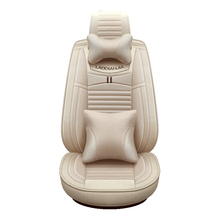 5D Car-Seat-Cover Beige Coffee Gray Surrounded Car Cushions Cotton+Linen Independent Waist support Seat Cover