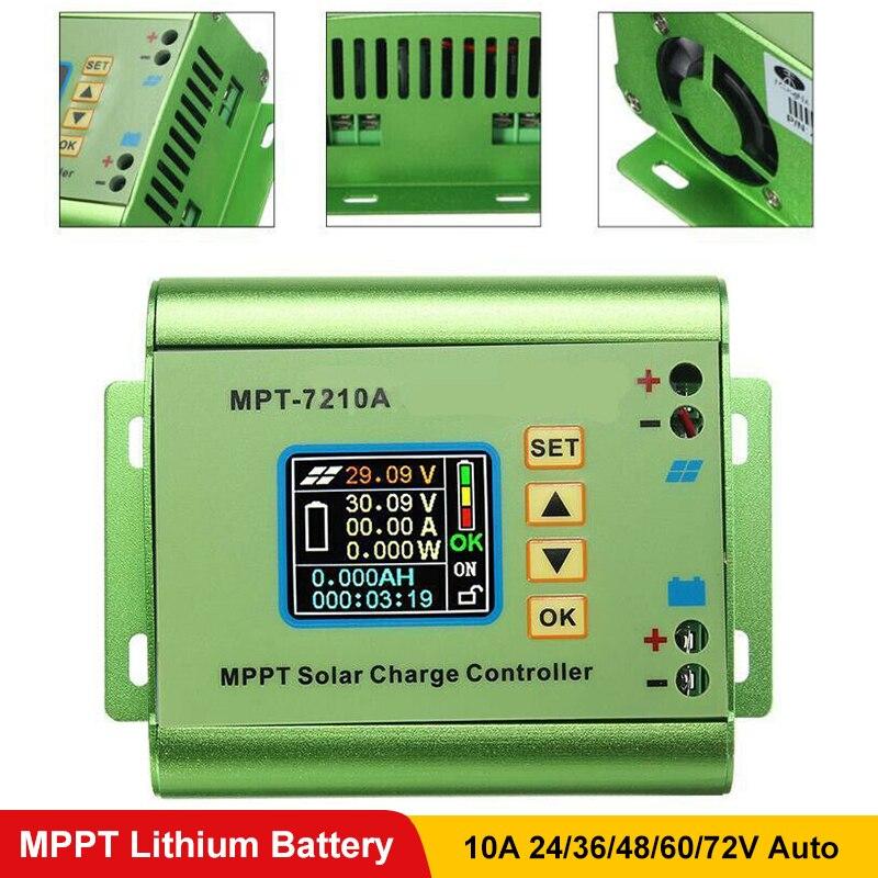 PowMr 10A MPPT Controlador de Carga Solar Apto Para 24V 36V 48V 60V 72V Bateria De Lítio banco Energia Solar Sistemas Reguladores Display LCD