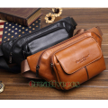 2017 New Men Genuine Leather Cowhide Vintage Travel Cell/Mobile Sling Chest Belt Hip Bum Pouch Fanny Pack Waist Bag Purse