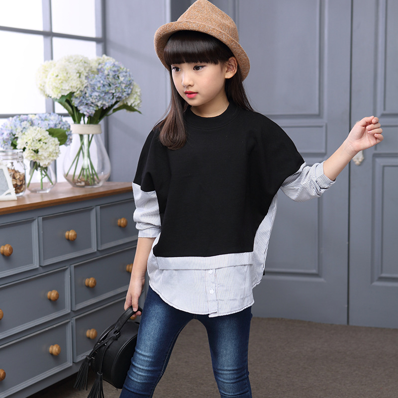 цены New Spring Autumn Girls T-shirt Children Cotton Patchwork Shirt Fashion Kids Striped Tops Girls Clothes 4 6 8 10 12 14 15 Years