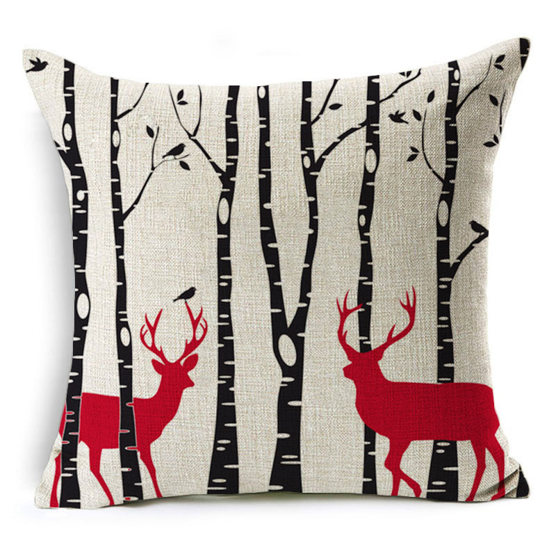 Monily Cartoon Pillow Cover Kids Christmas Gift Deer Car Mushroom Cushion Cover Decorative Throw Pillow Case Sofa Home Decor