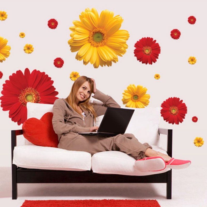 Bedroom Wallpaper Stickers Yellow Accent Wall Bedroom Bedroom Lighting Ideas Bedroom Ceiling Options: 3D Flower Wall Sticker Chrysanthemum Daisy Home Bedroom