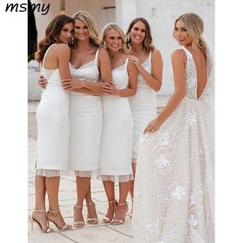 Elegant Sheath White Bridesmaid Dresse Sleeveless Chiffon Pleat Simple Cheap Knee Length Bridesmaid Dresses Custom Made фото