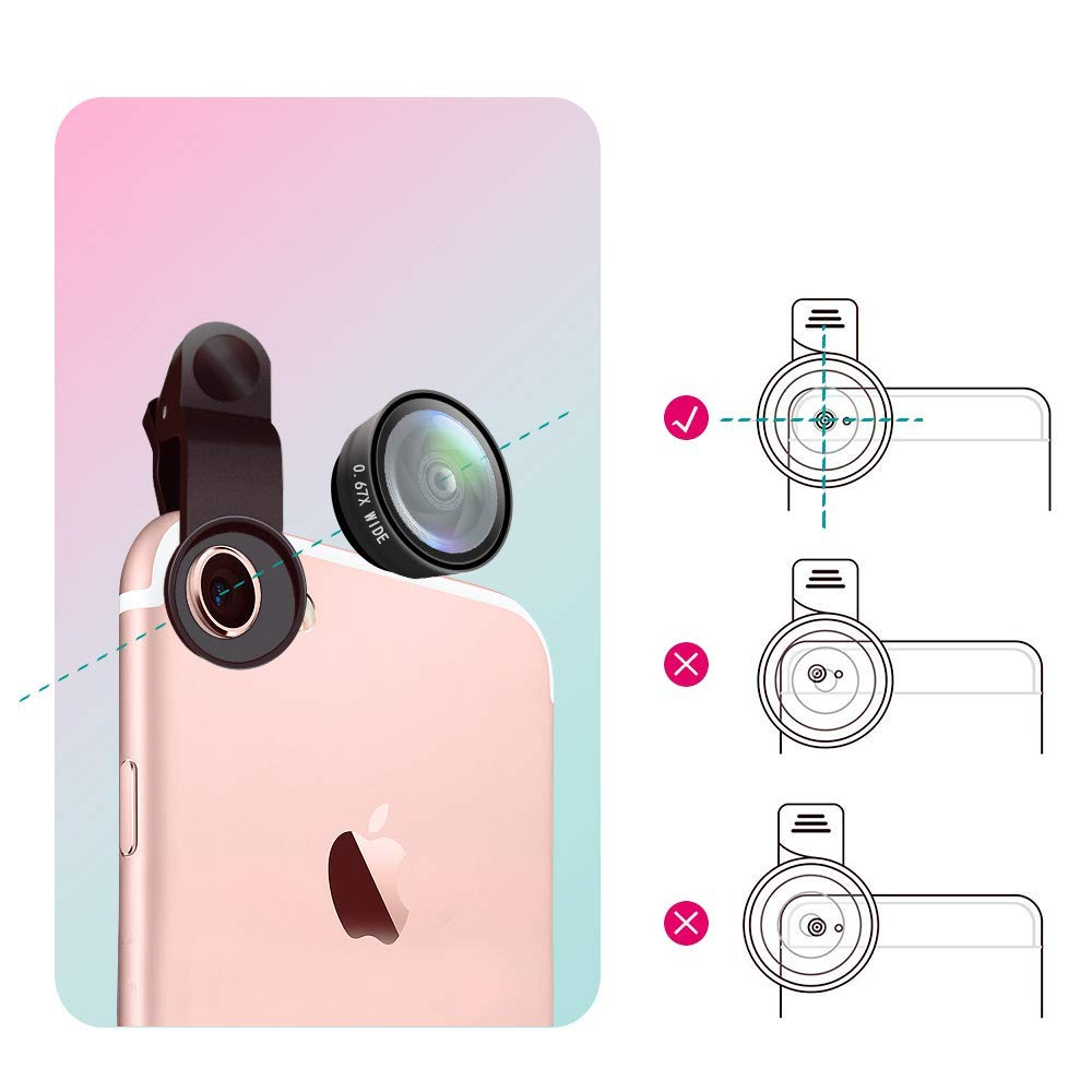 Protefeuille 3in 1 Wide Angle Macro Fisheye Lens Smartphone Kits Camera Lenses On The Mobile Phone For Iphone 7 8 Plus With Clip (25)