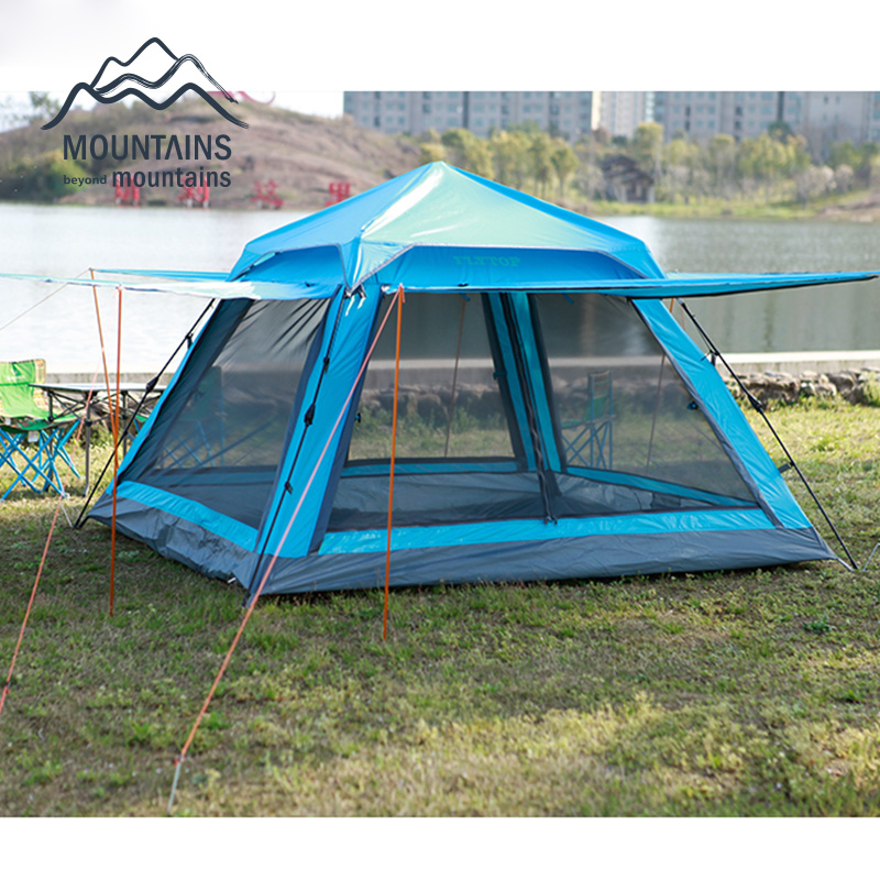 Outdoor 3-4 person Automatic Waterproof Windproof  Anti- Mosquito Double Layer Breathable Camping Beach Family Travel Tent outdoor double layer 10 14 persons camping holiday arbor tent sun canopy canopy tent