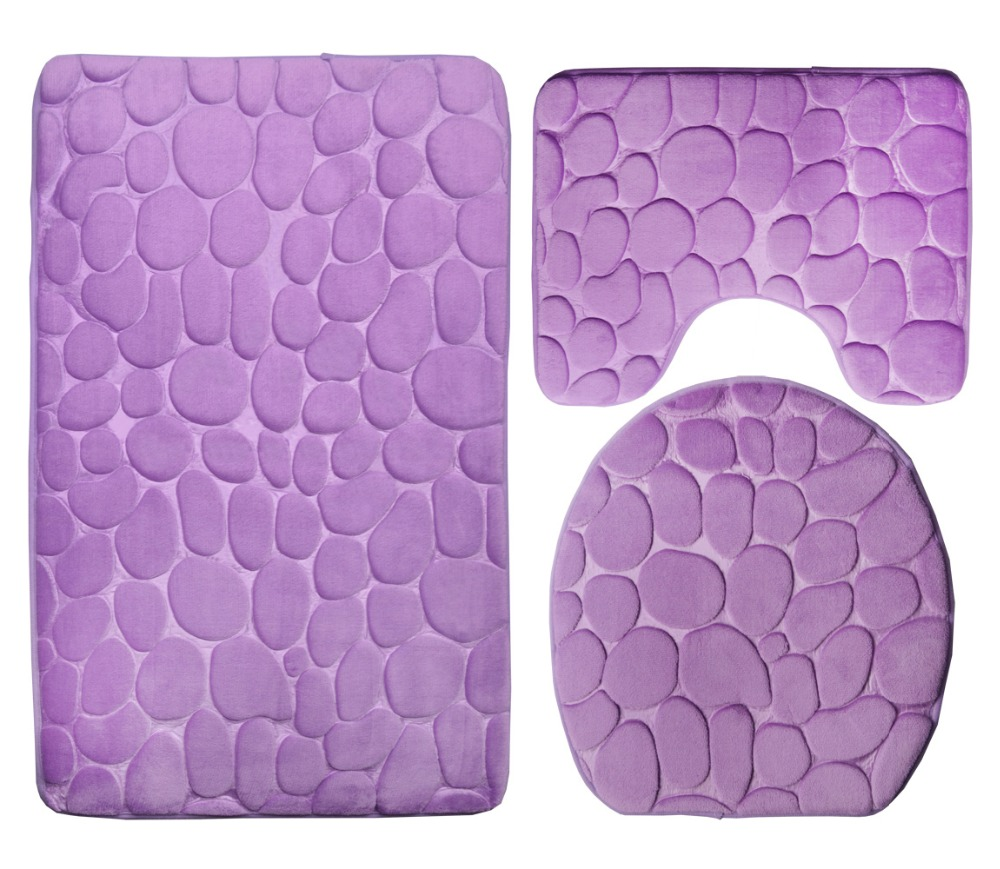 "Purple Bathroom Mat Sets: 3 Piece Bathroom Rug Mat Set Contour Rug Sets (19""x30.5"