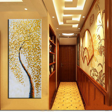 Lõuend Prindi Wall Art - Suure suurusega plakat Modern Abstract Gold Money Tree prindib lõuendil elutuba Kodu Decor Ei raam