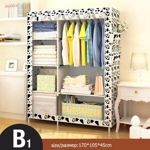 Image 2 - Armario de tela plegable Simple moderno armario tela ropero armario individual de acero armario doble armario de almacenamiento