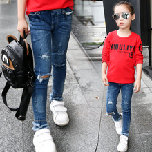 2017 new spring teenage girl ripped jeans solid colour full long children kids fashion denim pants trousers children clothes 163