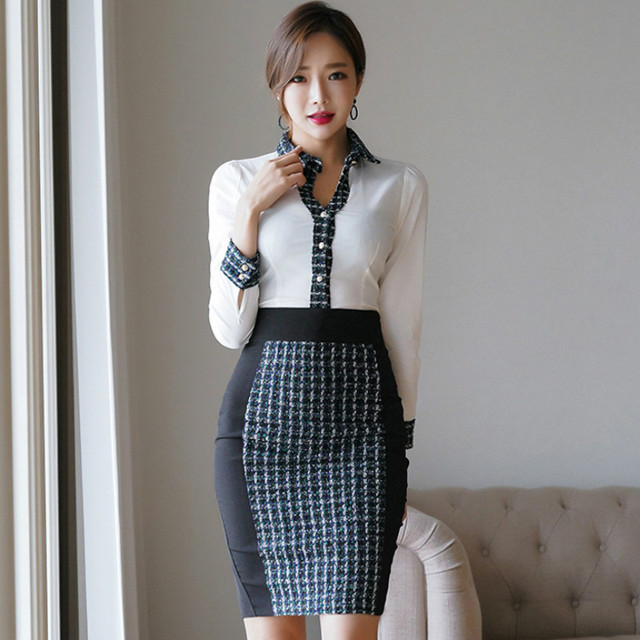 83531a6ef5 2019 Spring Vintage Office Blouse Mini Bodycon Plaid Skirt Two Piece Work  Set Sexy OL Suit