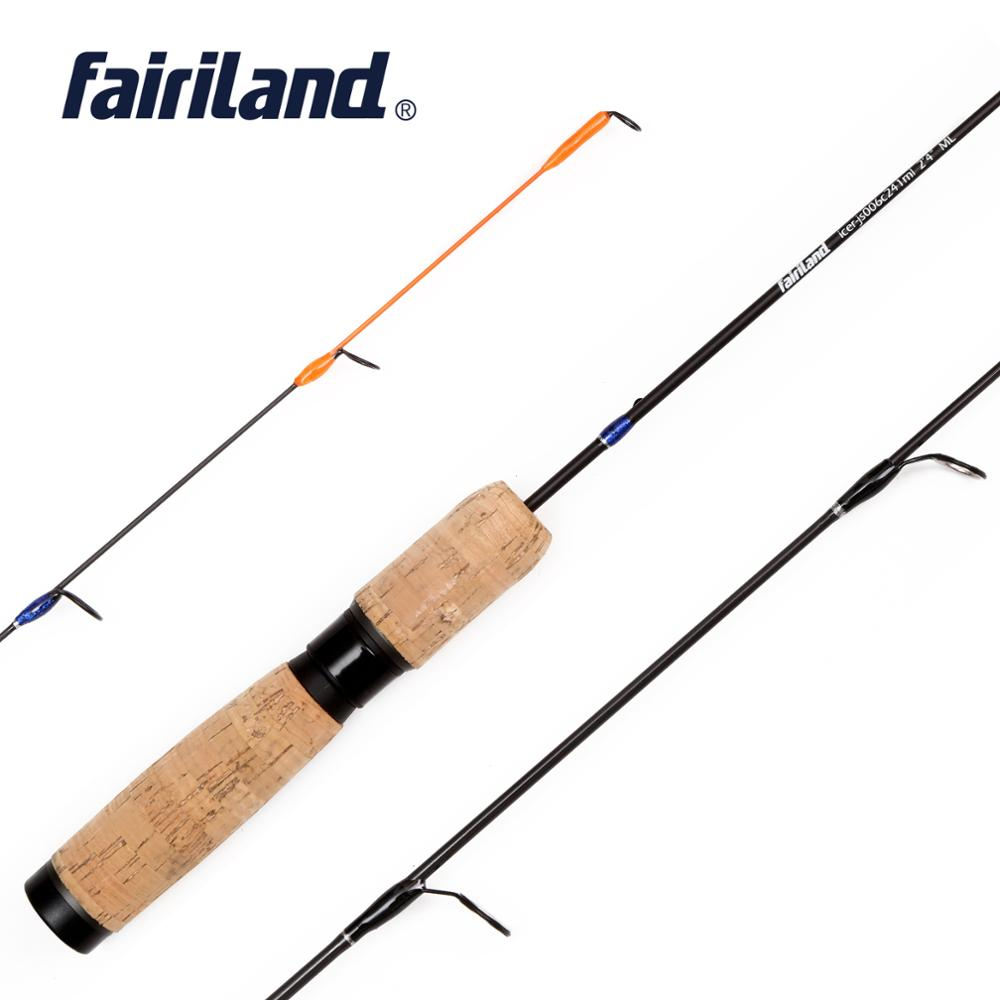 1 Section Ice Fishing Rod Made Of SOLID CARBON 100% 2.4'/2.8' Ice Rod W/ Unique Reel Seat And Premium Grade CORK WOOD Handle