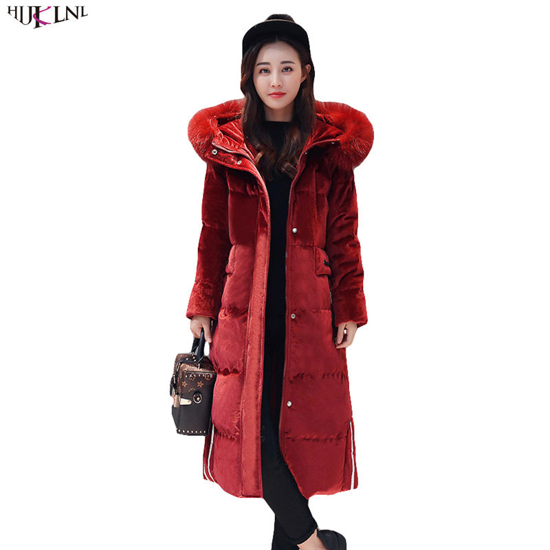 2019 nouveau femmes hiver doudoune longue fourrure à capuche manteau velours chaud extérieur Vintage coréen Outwear lettre lâche décontracté hauts AC202