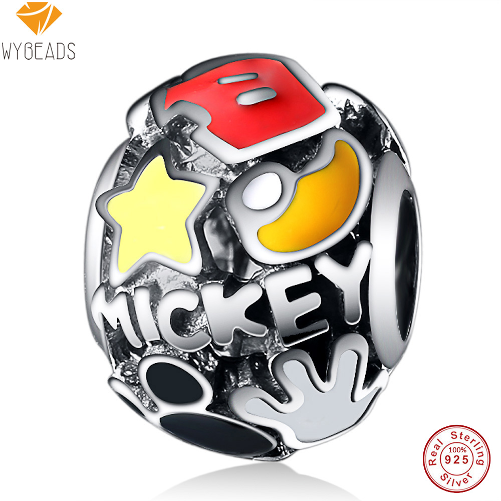 WYBEADS 925 Sterling Silver Charm Cartoon Mouse Charms European Bead Fit Snake Chain Bracelet Bangle DIY Accessories Jewelry
