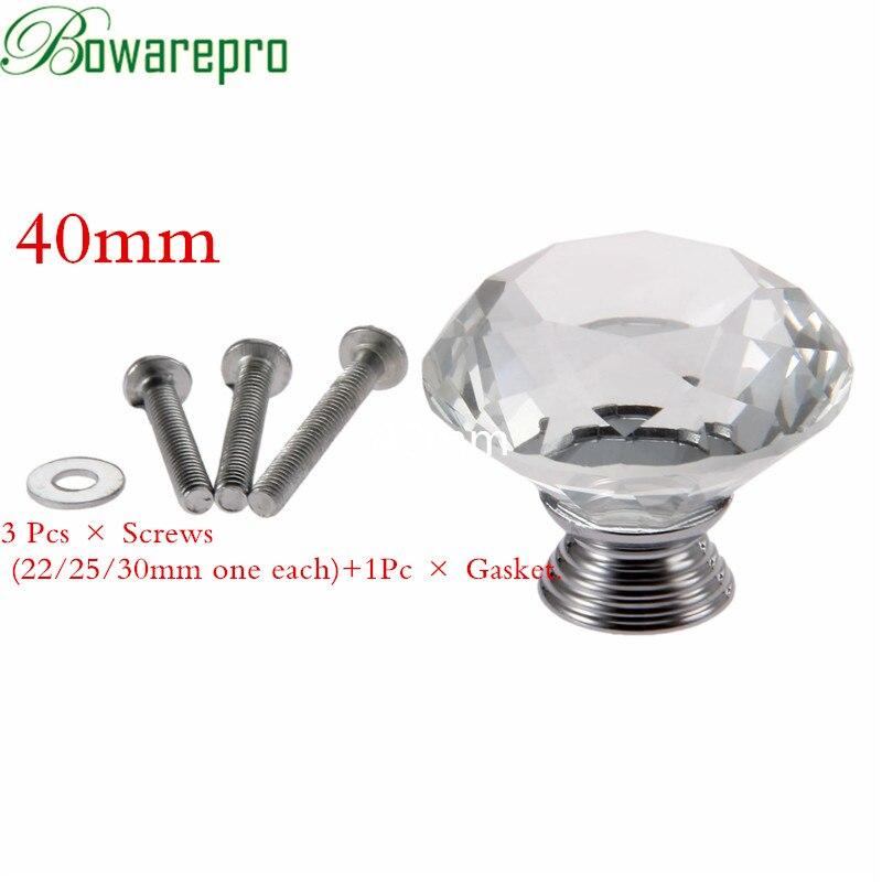 Superior Bowarepro Diamond Crystal Glass Knob Hardware Pull Dresser Handle Kitchen Cabinet  Handles 40mm Door Furniture 1pcs+3Pcs Screws