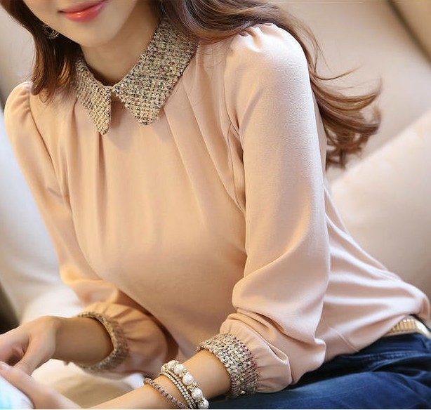 e3f28a12ac6 2016 Spring Women Blouse Slim Gold Sequins Blouses Plus Size s-2xl Shirt  Women Pater Pan Collar Tops Blusas