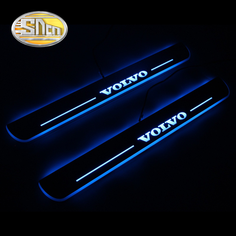 SNCN Waterproof Acrylic Moving LED Welcome Pedal Car Scuff Plate Pedal Door Sill Pathway Light For Volvo XC60 2015 2016 fsylx led door moving scuff welcome pedal door sill plate light for audi q3 2013 2015 white led pedal light for q7 2006 2015