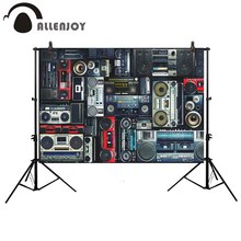 Fondo de fotografía Allenjoy pared vintage radio boombox fondo de música photocall photobooth Utilería de estudio de fotografía deroration
