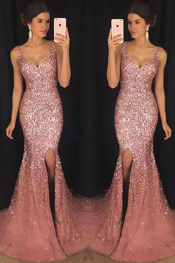 Perles longues robe de soirée de luxe abendkleider col en v Bling Bling robe de bal strass sans manches grande taille robe de soirée