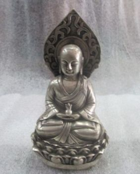 Elaborate ancient Old Chinese Tibetan silver Buddha Statue