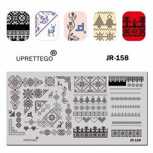 Image 4 - 2019 paslanmaz çelik tırnak yapıştırması şablon rus cümle kedi çiçek köşe noel meyve piksel desen tırnak aracı JR151 160