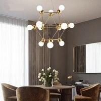 Modern 4/12 kafaları kolye lamba çubuğu Butik Villa Sihirli fasulye hafif moleküler cam küre ev yemek odası kolye ışık ZA81830