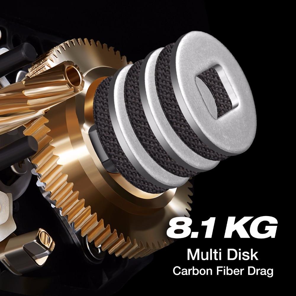 Piscifun Torrent pêche bobine 8.1 kg carbone glisser 7.1: 1 5.3: 1 rapport de vitesse 6 roulements frein magnétique profil bas Baitcasting bobine - 2