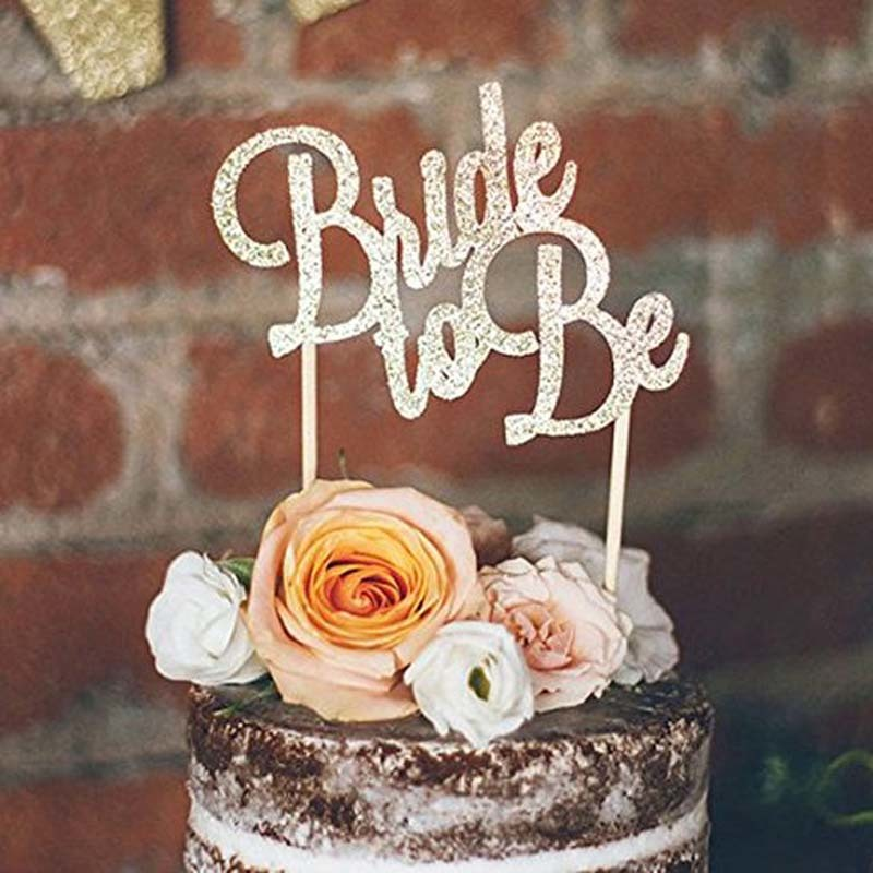 Engagement Bridal Shower Bride To Be Wedding Cake Topper Silver Bachelorette Party Decoration