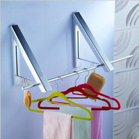 Space Aluminum Retractable Folding Clothes Hanging Mini Contraction Invisible Racks Wall Bracket Conceal Wall Floating Holder