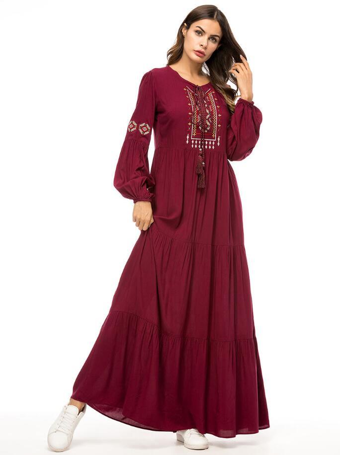 068f10964b 2018 Fall Middle East Muslim Women Vintage O-Neck Long Sleeve Loose ...