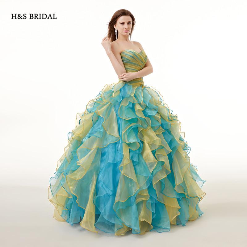 H & с свадебные смешанные цветной дешевые органзы бальное платье выпускные платья пышное платья для женщин вечернее пышное платье сладкий 16 платья