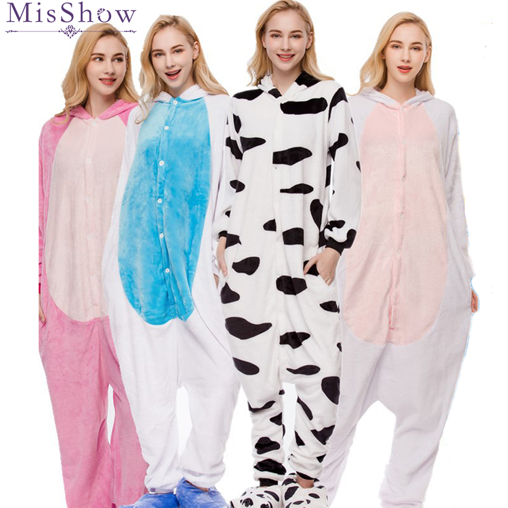2018 Winter blau einhorn Pyjama Sets Cartoon Nachtwäsche Frauen Pyjama Flanell Tier zebra Stich Einhorn giraffe Pyjama kigurumi