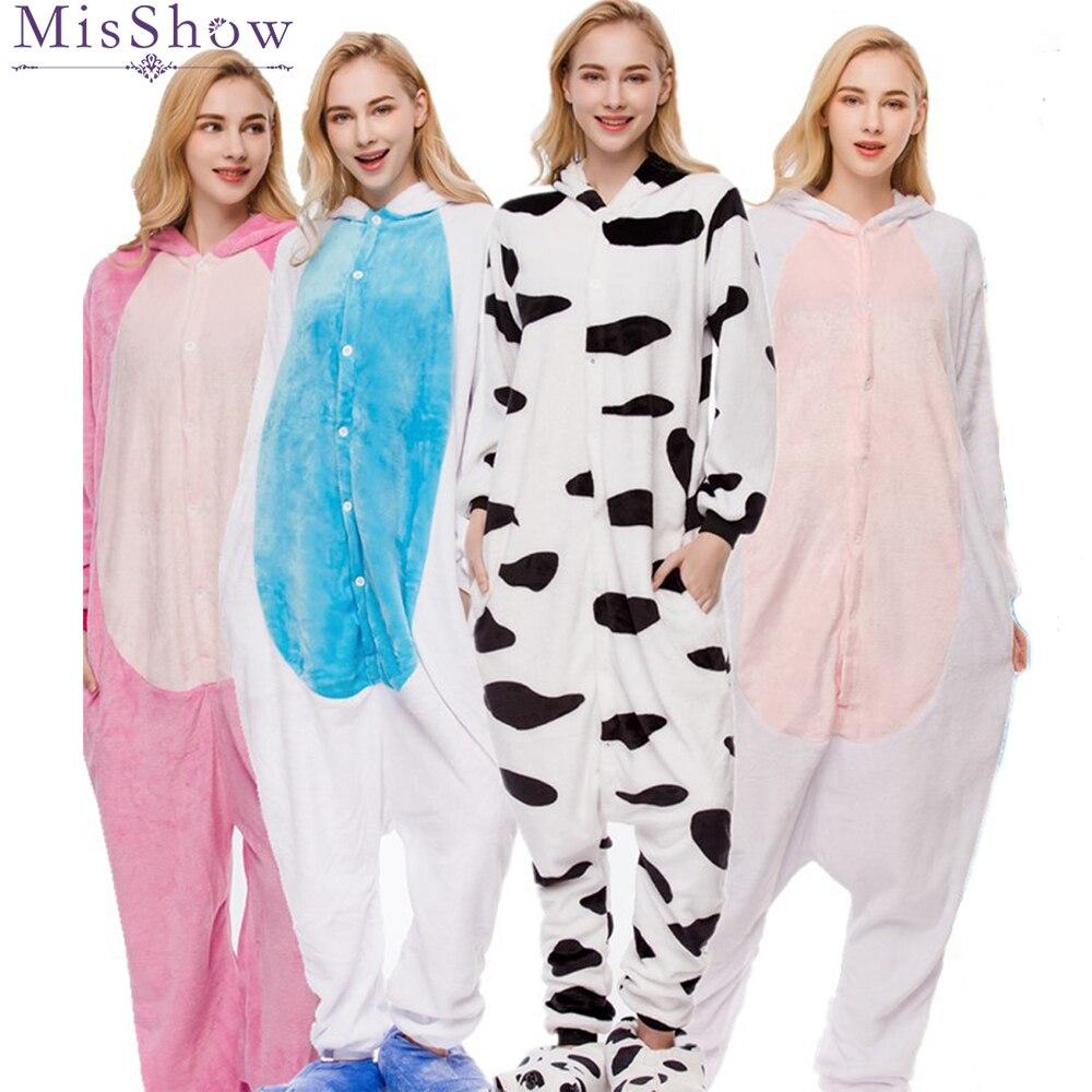 Invierno de 2018 unicornio azul conjuntos de pijama ropa de dormir de dibujos animados mujeres pijama de franela de cebra de peluche de unicornio jirafa de kigurumi