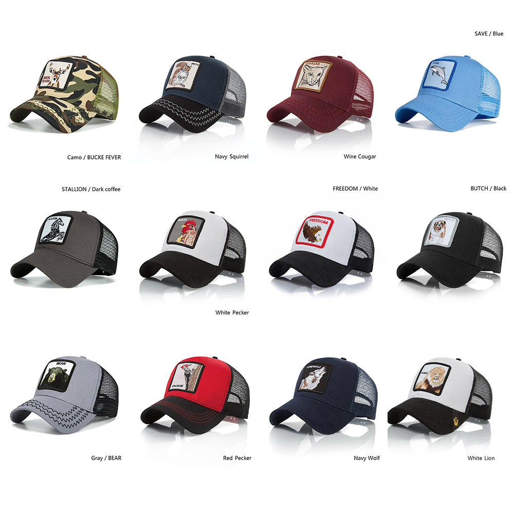 2019 New Summer Fashion Men's Sun Hat Cool Animal Embroidery   Baseball     Caps   Women Breathable Mesh Streetwear Bone Unisex Hat