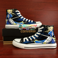 High Top Converse Chuck Taylor Anime Shoes Custom Cartoon Fate Stay Night Saber Design Hand Painted Shoes Women Men Sneakers