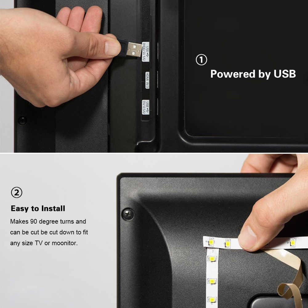 Lampu LED 5V USB Kabinet Lampu LED Strip SMD 2835 RGB TV Desktop PC Lampu Latar Layar Dekorasi Lemari Pakaian lampu Dapur