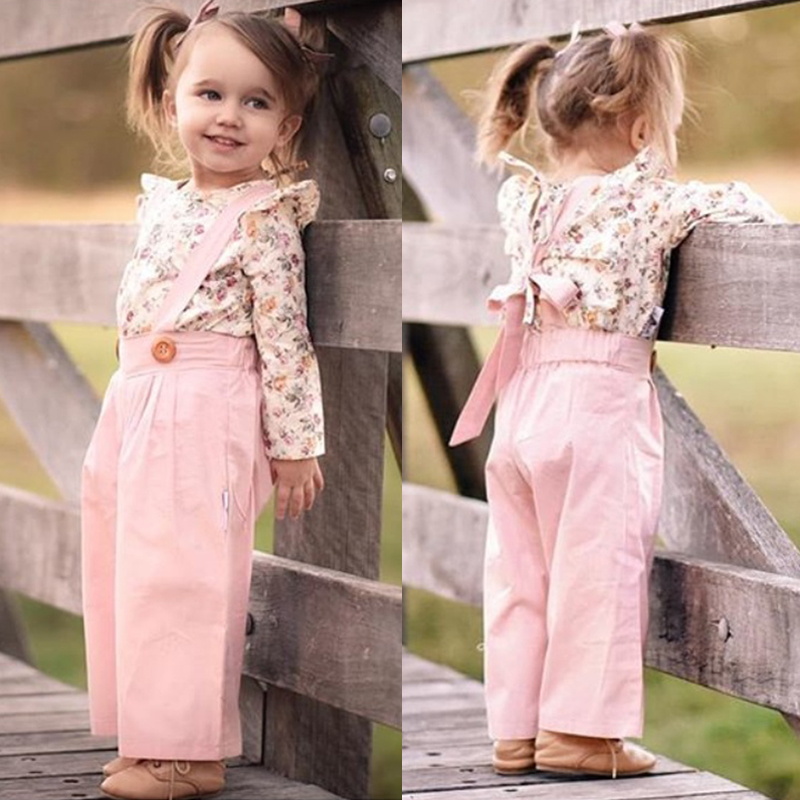 2PCS Toddler Kids Baby Girl Winter Clothes Floral Tops+Pants Overall Outfits sweet girl clothes set 5