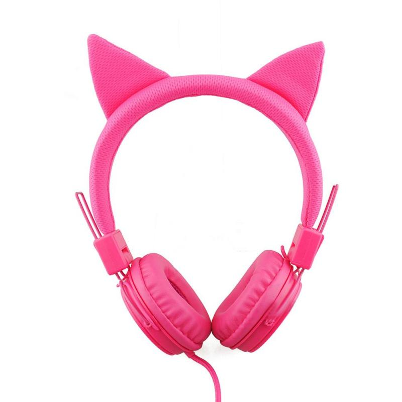Hot Cat Ear Wired Cute Headphone Big Gaming Luminous Earphone Headset With Mic for iPhone Samsung Computer Phone Girls плащ и маска черепашка ниндзя uni