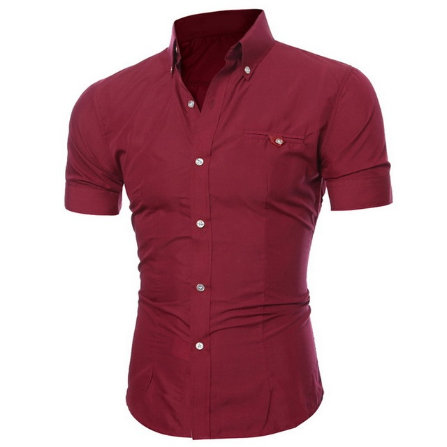 Oeak Mens Short Sleeve Shirt 2019 New Summer Fashion Sexy V-Neck Solid Color Buttons Casual Breatnable Comfortable Tops