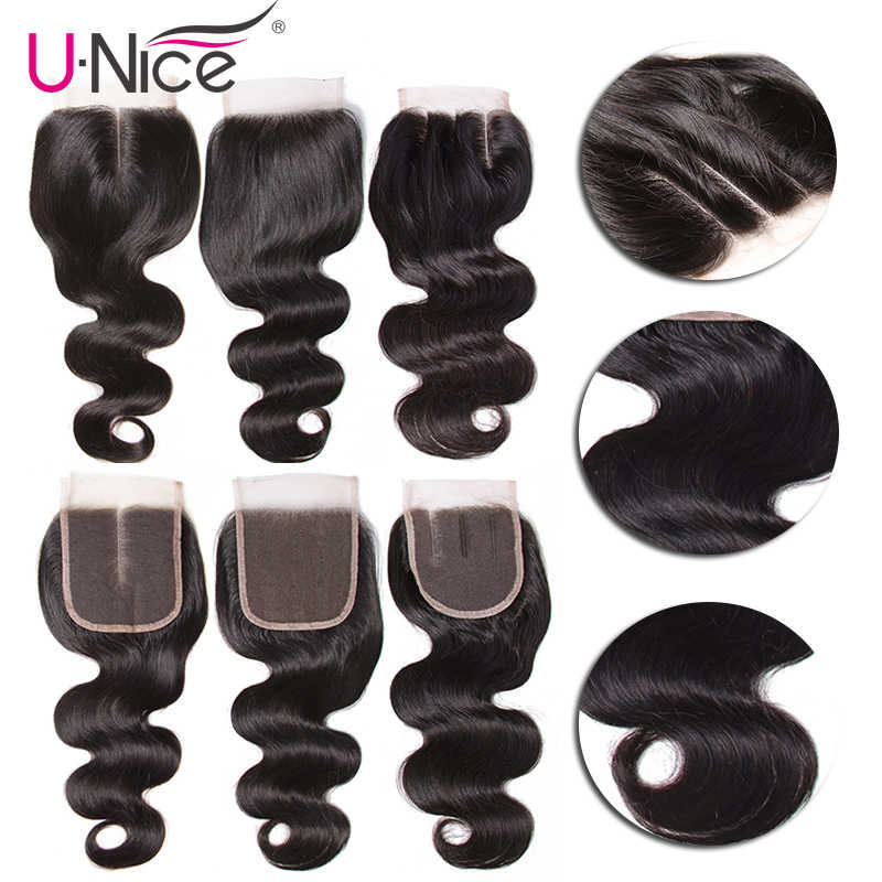 """Unice Haar Body Wave Bundels Met Sluiting Menselijk Haar Bundels Met Sluiting 8-30 """"Brazilian Hair Weave Bundels diy Pruik Door U"""