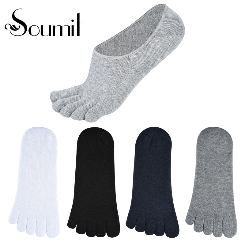 Soumit 4 Pairs/set High Quality Pure Cotton Spring Summer Five Finger Toe Socks Men's Women's Short Boat Socks Gift Inserts