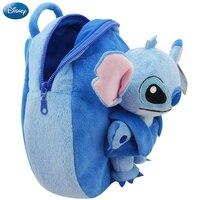 Genuine Disney Backpack 30cm Plush Cotton Stuffed Doll Lilo and Stitch Kawaii Kindergarten Schoolbag Christmas Gift Toy For Kid