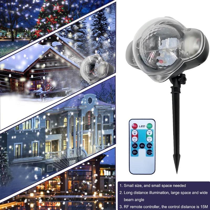 Nuevo copo de nieve para proyector Mini impermeable LED al aire libre, lámpara de láser de luz de la noche para el Festival de Navidad suministros de decoración de la lámpara