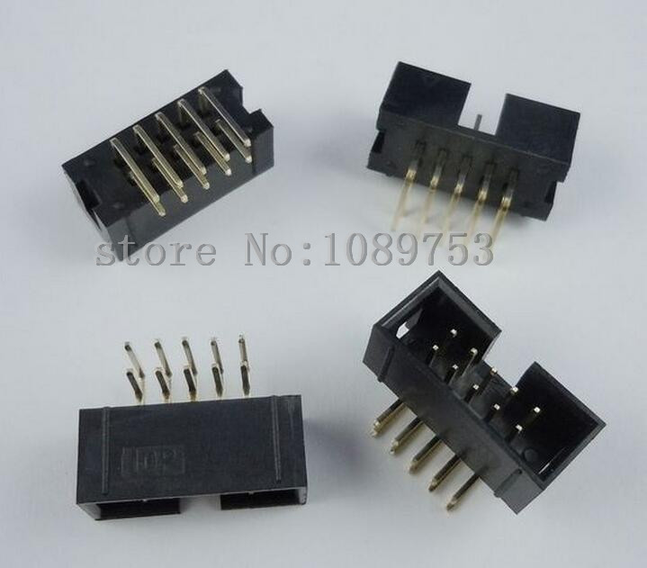 50 pcs 10 Pins 2x5 Box Header Connector IDC Male Sockets Right Angle 2.54mm