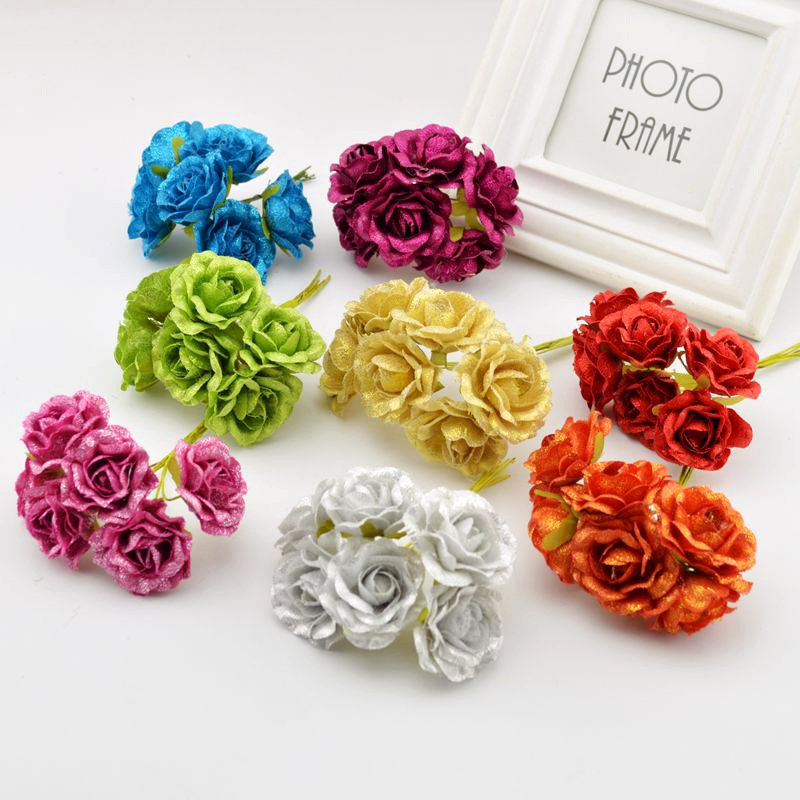 Large 3d European Pearl And Rose Jewelry Tv Background: 6pcs Silk European Retro Rose Artificial Flowers For Home