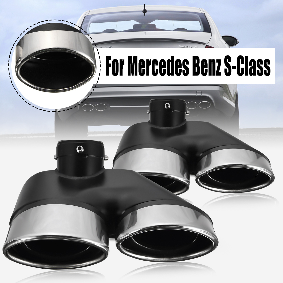 For Mercedes Benz W220 S430 S500 For AMG 2000 2001 2002 2003 2004 2005 2Pcs Auto Dual Exhaust Muffler Stainless Steel Tips Pipe