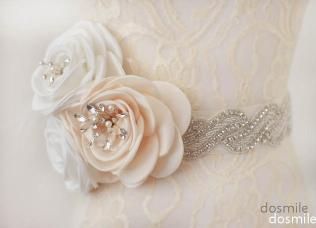 Fashion Flowers Jeweled Sashes Diamond Bridal Belt Wedding Accessories With Crystals Rhinestones For Wedding Dress