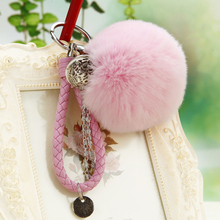 8cm Rabbit Puff Ball Fur Keychain Pom Bag Charm Keyring Accessory Fluffy Leather Car Girl Gift
