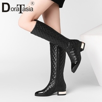 DoraTasia Hot Sale Genuine Sheepskin Leather Women Boots 4cm Med Heels Mixed Color Boots Female Autumn Winter Shoes Woman 33 45